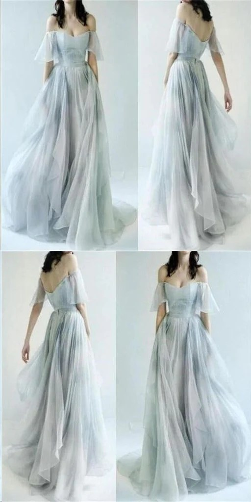 Beautiful Prom Dresses Offtheshoulder Aline Print Flowy