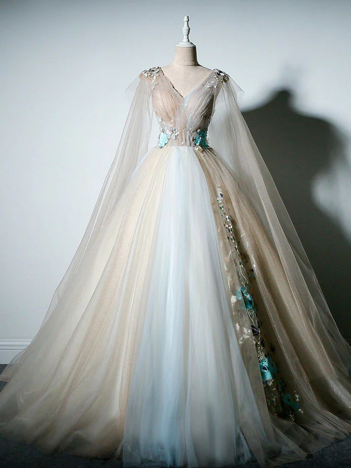 Ball Gown Prom Dresses Vneck Appliques Fairy Dress Long