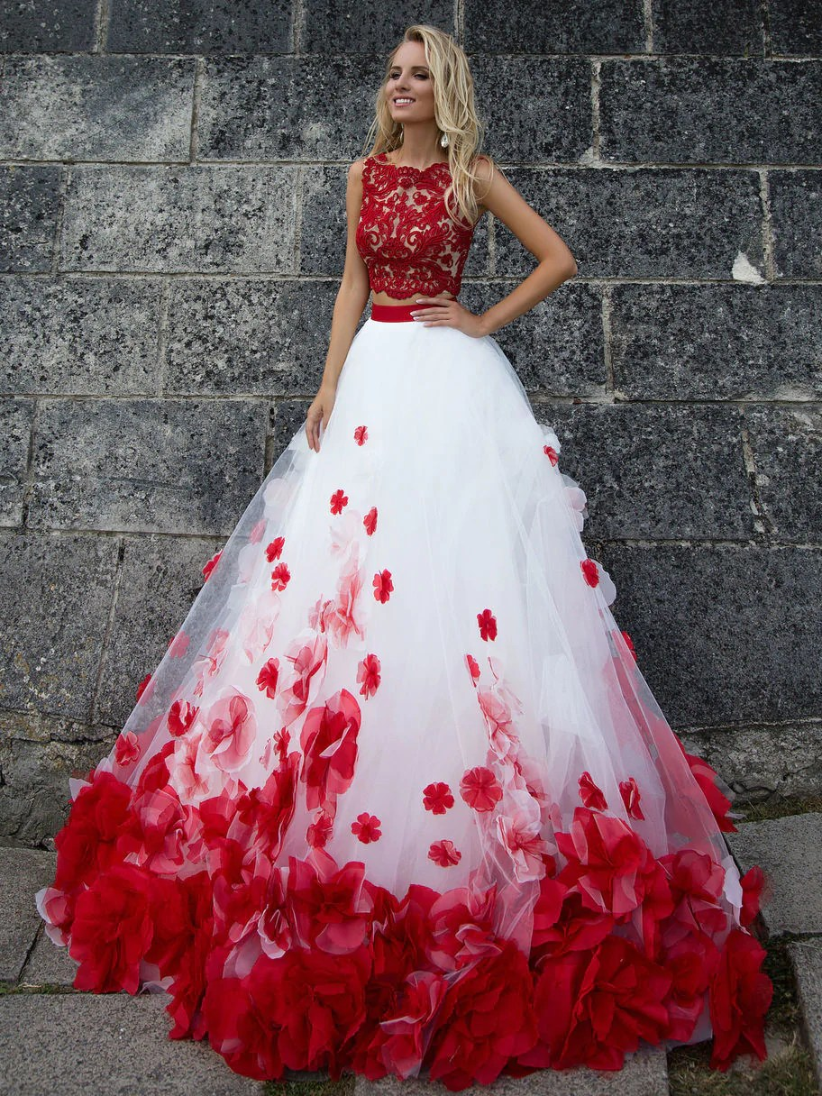 Two Pieces Wedding Dresses White And Red Appliques Bridal