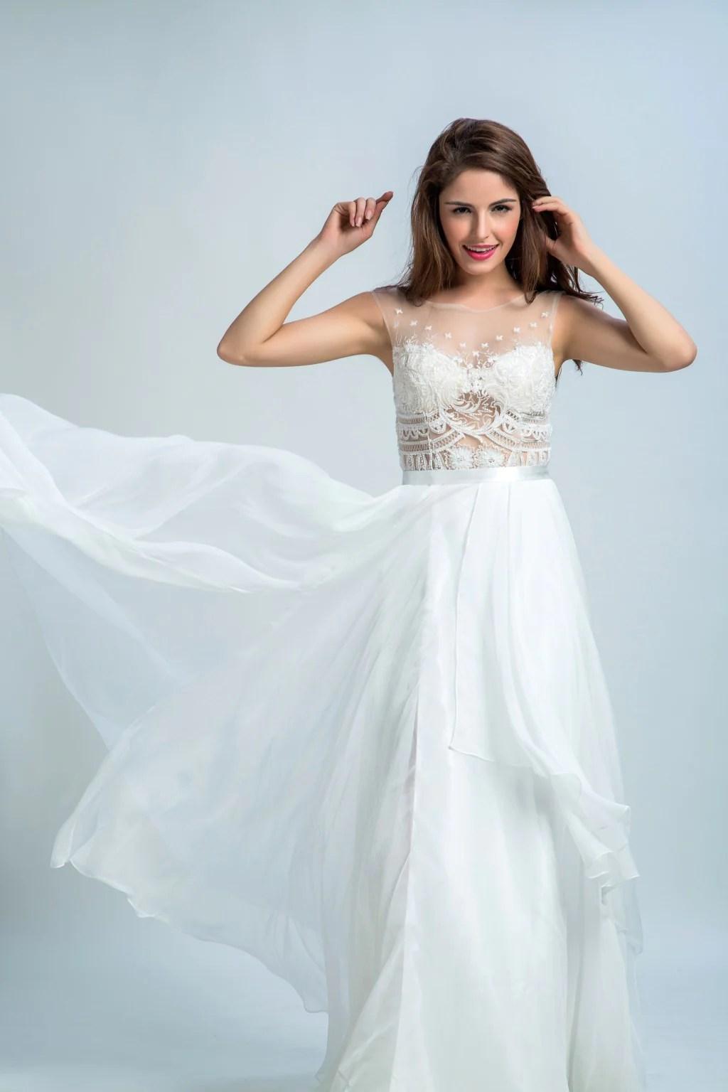 Pretty Prom Dresses Long -line Scoop Floor-length Chiffon