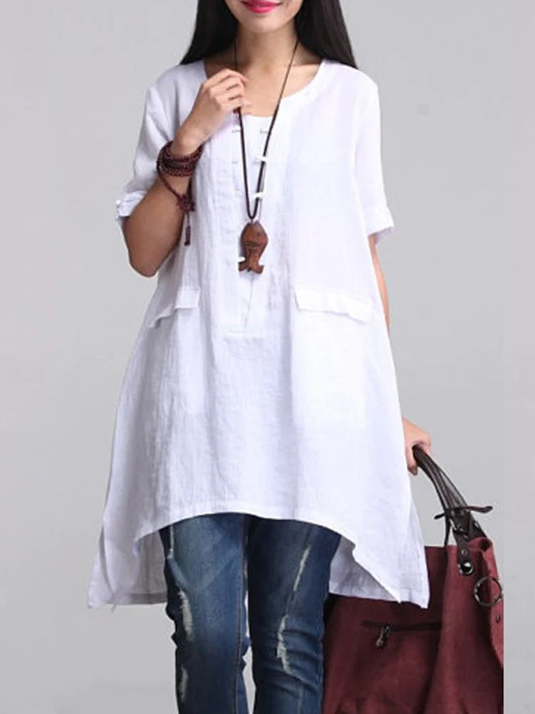 Solid Casual 34 Sleeve Cotton High Low Dress  JODISHOP