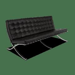 Barcelona Sectional Sofa Ottoman Leather Design Living Room Stile Mies Van Der Rohe 3 Posti