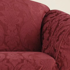 Two Tone Matelasse Damask One Piece Sofa Slipcover Can You Dye Leather Sofas Chair Surefit