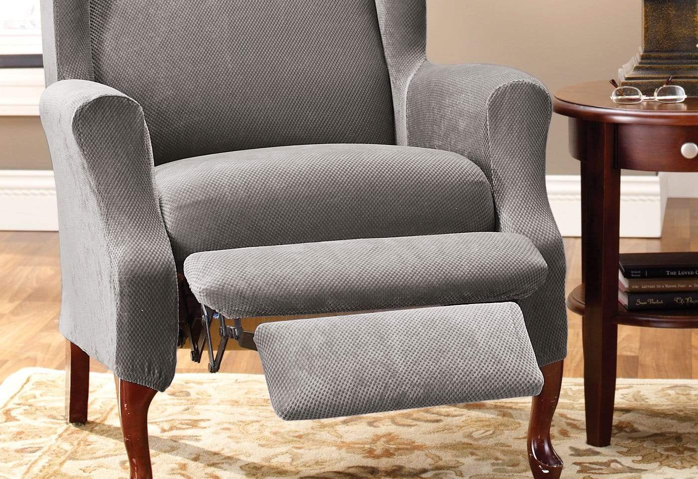 recliner chair covers grey comfortable side chairs stretch pique two piece wing slipcover surefit