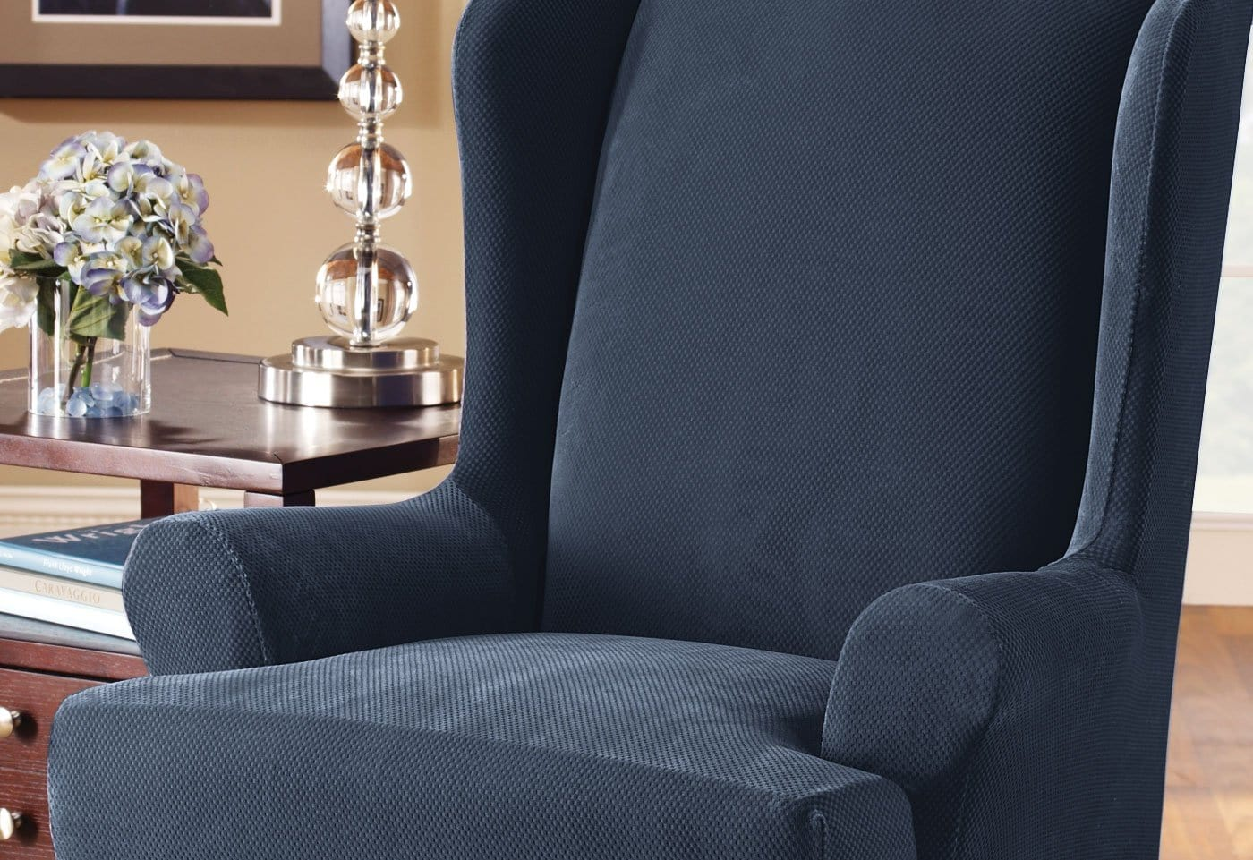 blue wingback chair slipcovers office reviews stretch pique one piece wing slipcover surefit