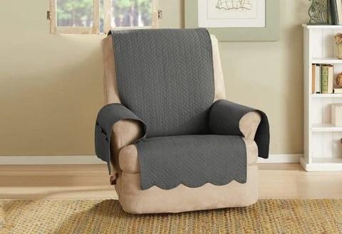 recliner chair covers wood folding and slipcovers surefit vintage washed chevron furniture cover