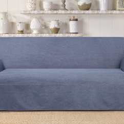 Denim Living Room Furniture Ikea Wall Units Authentic One Piece Sofa Slipcover Surefit