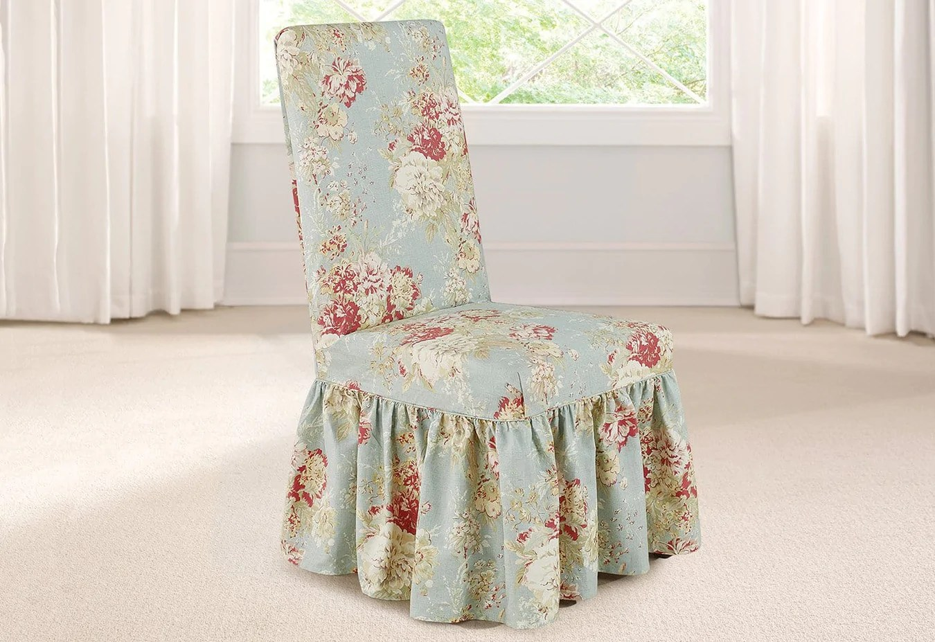 Slip Cover For Chair Ballad Bouquet By Waverly Long Dining Chair Slipcover