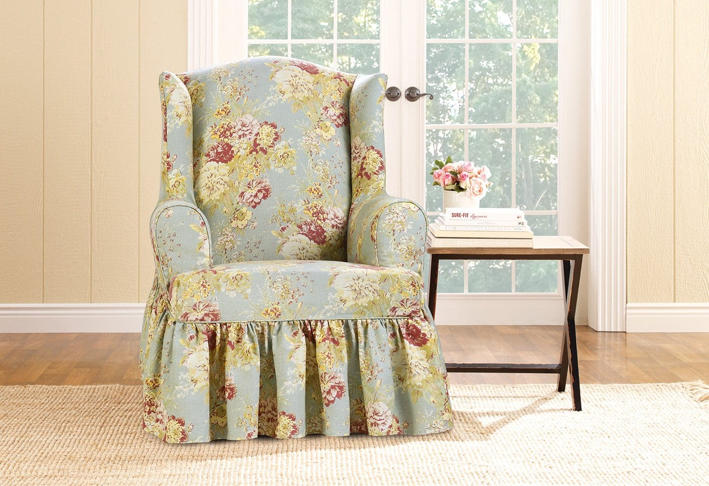 sure fit wing chair slipcover modern white table and chairs ballad bouquet by waverly one piece surefit
