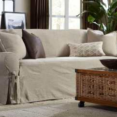 Belgian Linen Sofa Dfs Country Living Leather Textured One Piece Slipcover Surefit