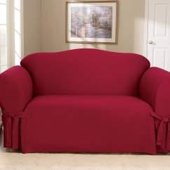 Durham One Piece Sofa Slipcover Madeline 3 Leather Set Cotton Duck Loveseat Surefit