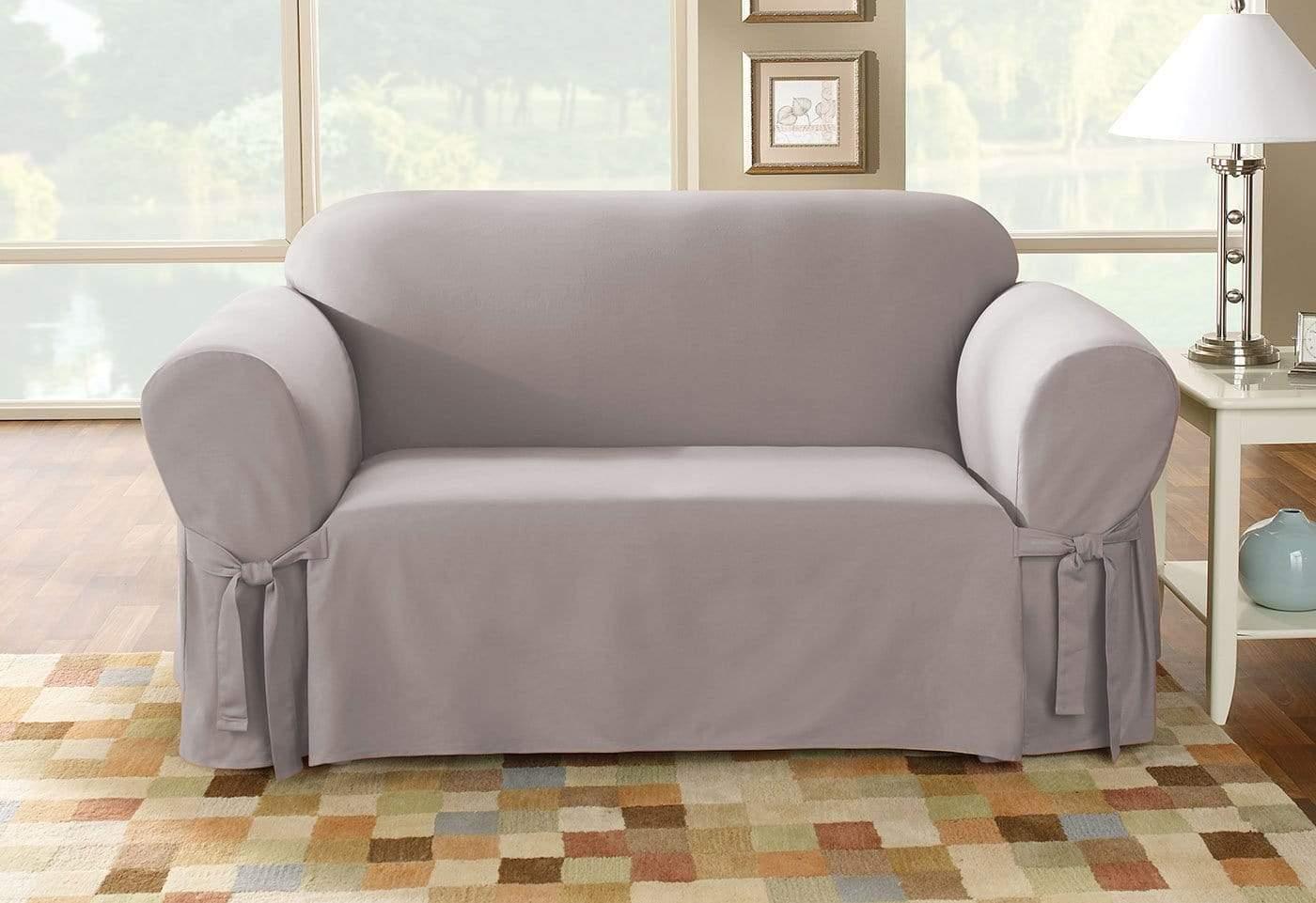 durham one piece sofa slipcover grey leather modern cotton duck loveseat surefit
