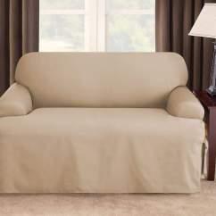 Durham One Piece Sofa Slipcover White Fabric Reclining Cotton Duck Loveseat Surefit