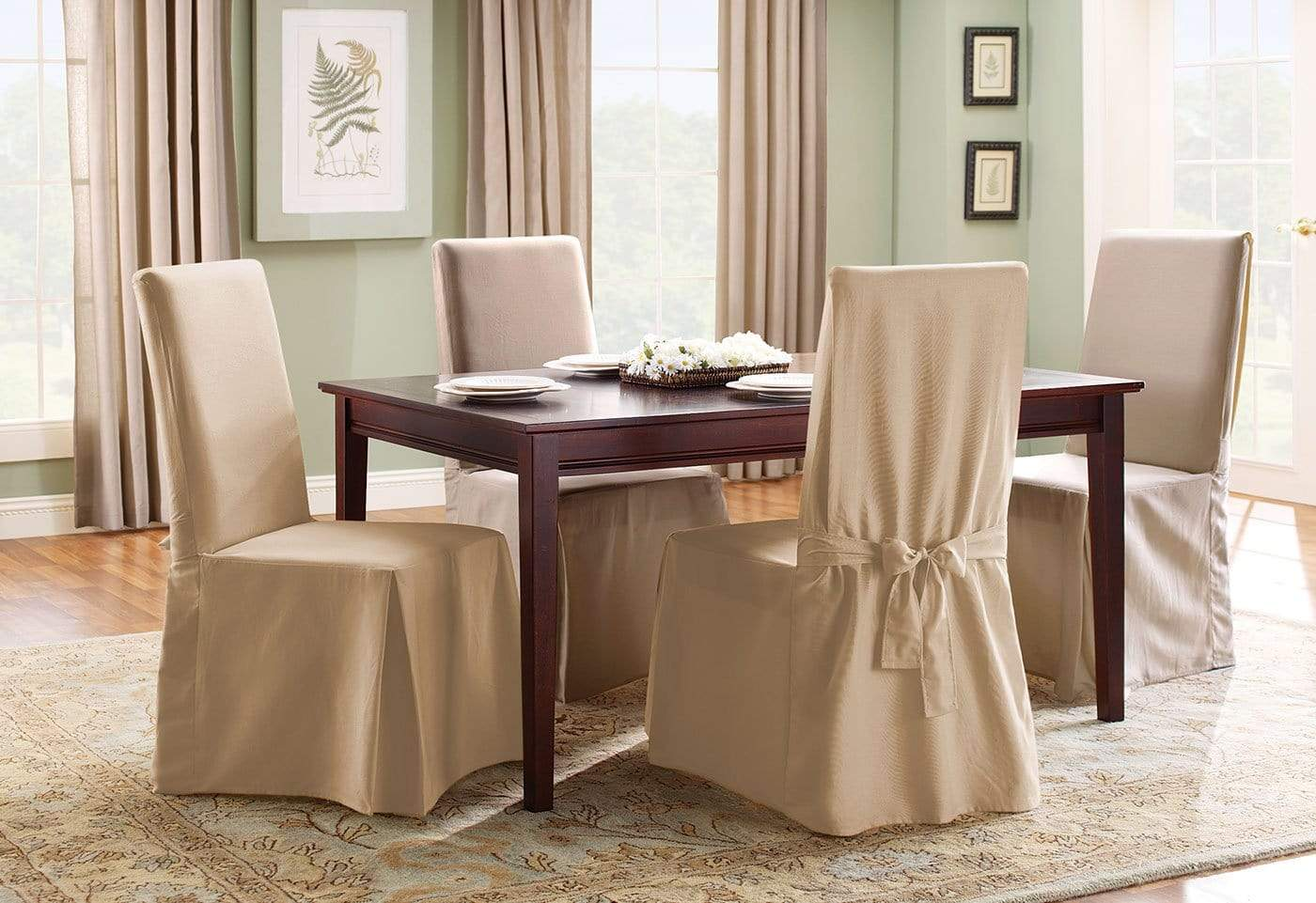 what kind of fabric for dining room chairs posture stool review cotton duck long chair slipcover surefit