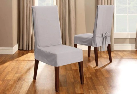 kitchen chair covers studio sleeper dining slipcovers surefit cotton duck short slipcover