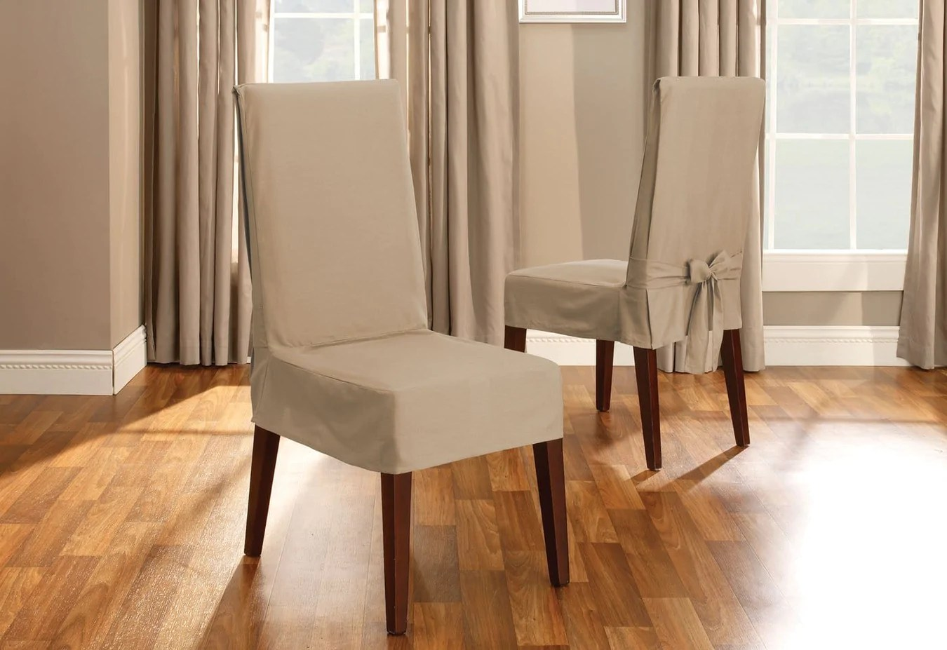 Dining Chair Slipcover Cotton Duck Short Dining Chair Slipcover Surefit