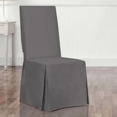 Dining Chair Covers Ergonomic Table And Slipcovers Surefit Essential Twill Scothgard Long Slipcover
