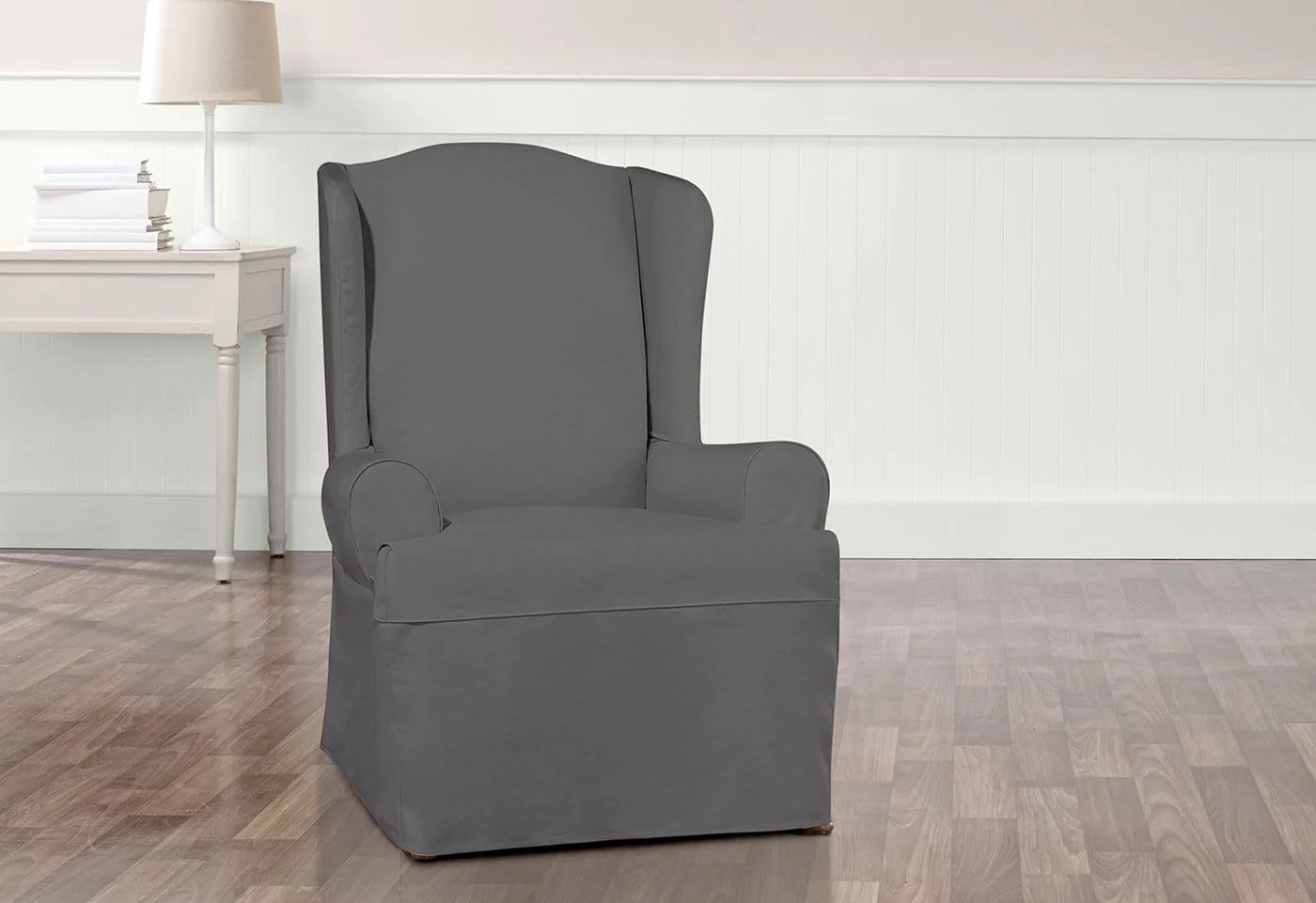 gray chair slipcover ergonomic living room essential twill one piece wing surefit