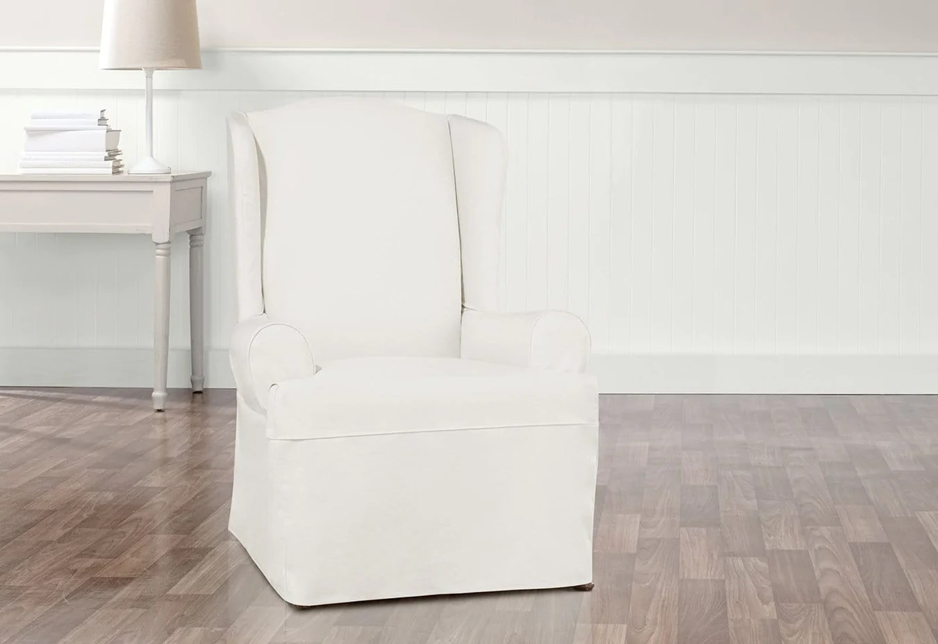 White Wing Chair Essential Twill One Piece Wing Chair Slipcover
