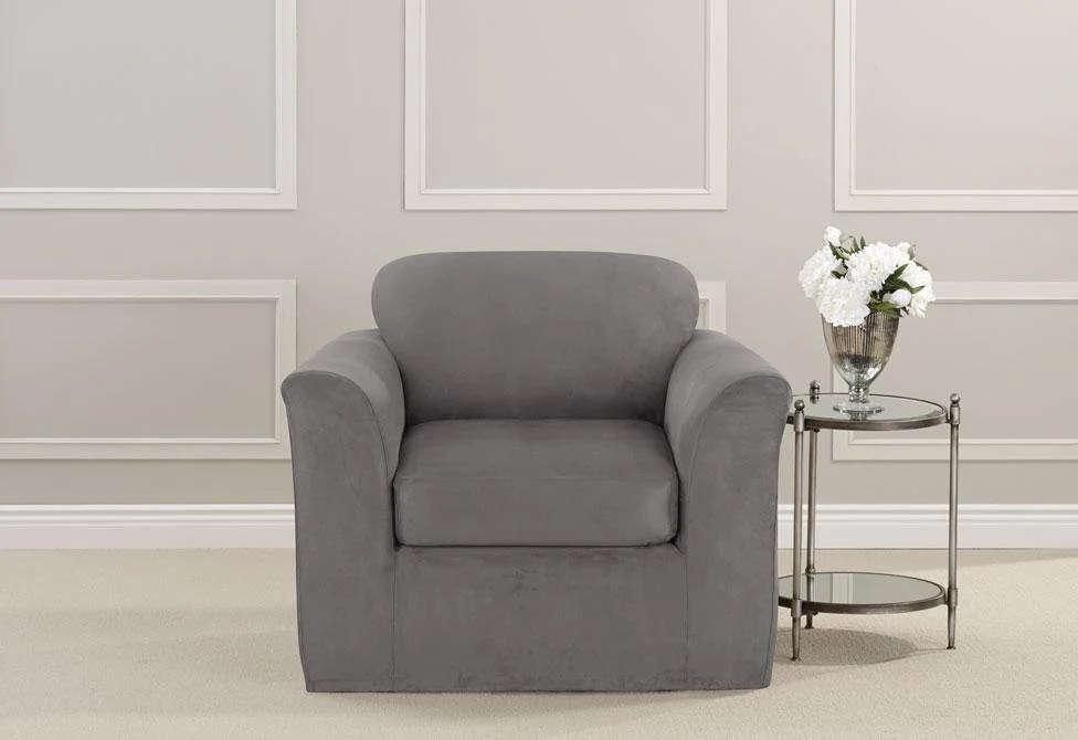gray chair slipcover desk pillow ultimate heavyweight stretch suede two piece surefit