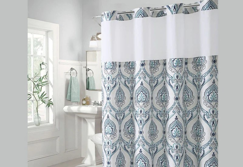 hookless french damask print shower curtain includes snap on off replaceable liner