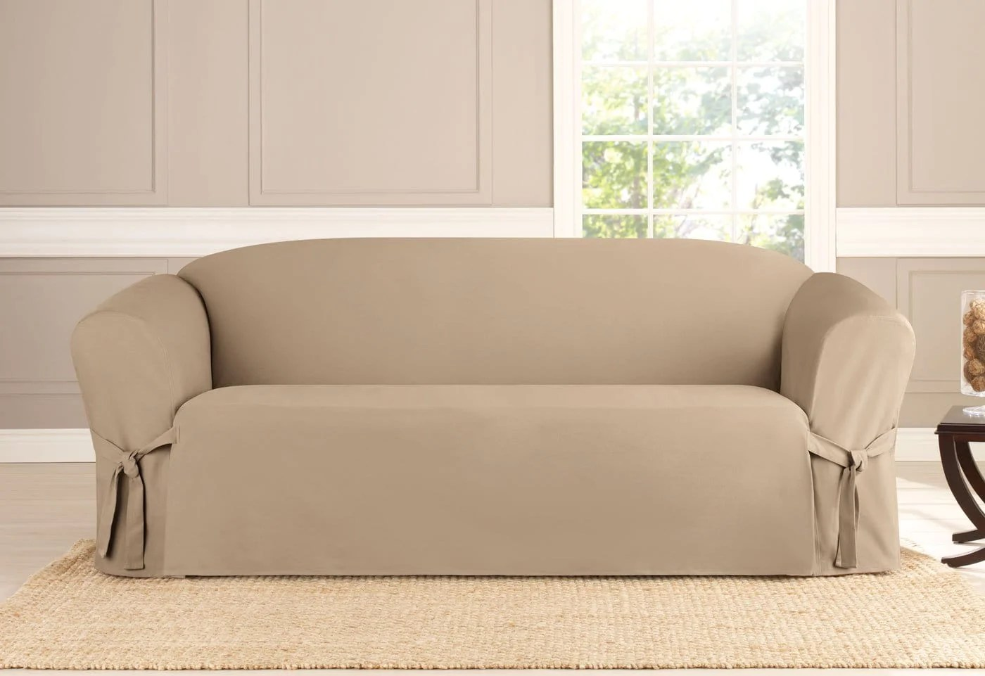 khaki sofa slipcovers leather dimensions heavyweight cotton duck one piece slipcover surefit