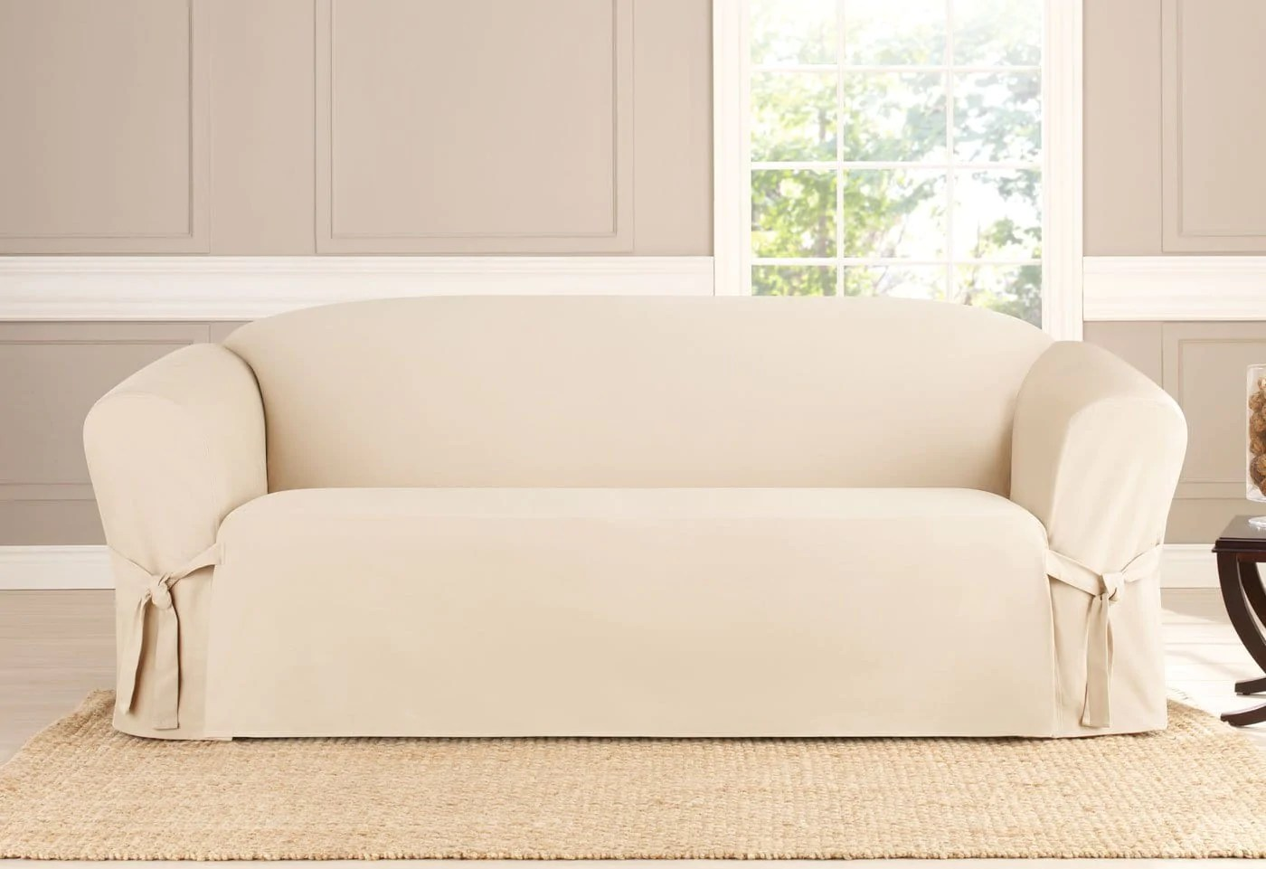 stretch morgan 1 piece sofa furniture cover macy s seafoam heavyweight cotton duck one slipcover surefit