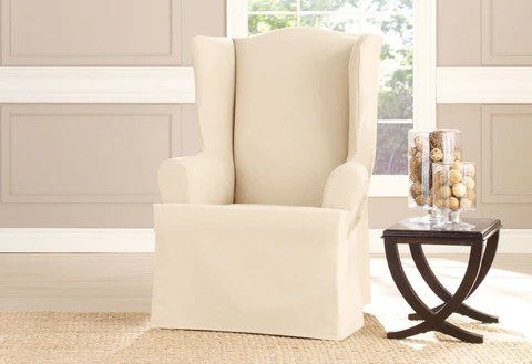 wingback chair cover big round living room chairs slipcovers furniture covers surefit heavyweight cotton duck wing