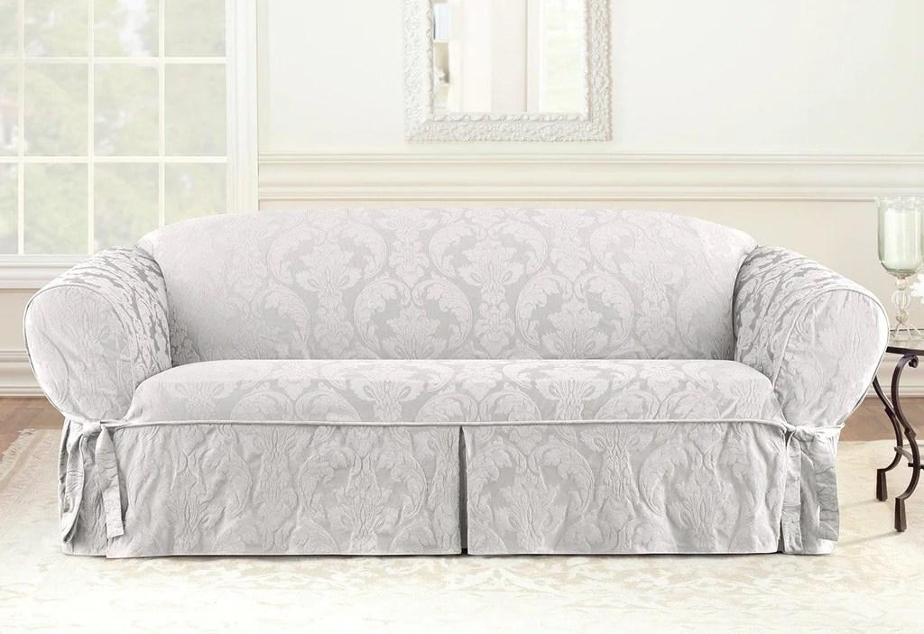 white chair slipcover t cushion acrylic clear matelasse damask one piece sofa surefit