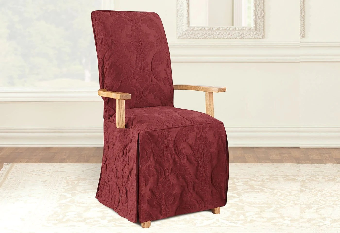 dining arm chair covers swivel in tagalog matelasse damask long slipcover  surefit