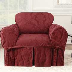 Two Tone Matelasse Damask One Piece Sofa Slipcover Simples E Barato Chair Surefit