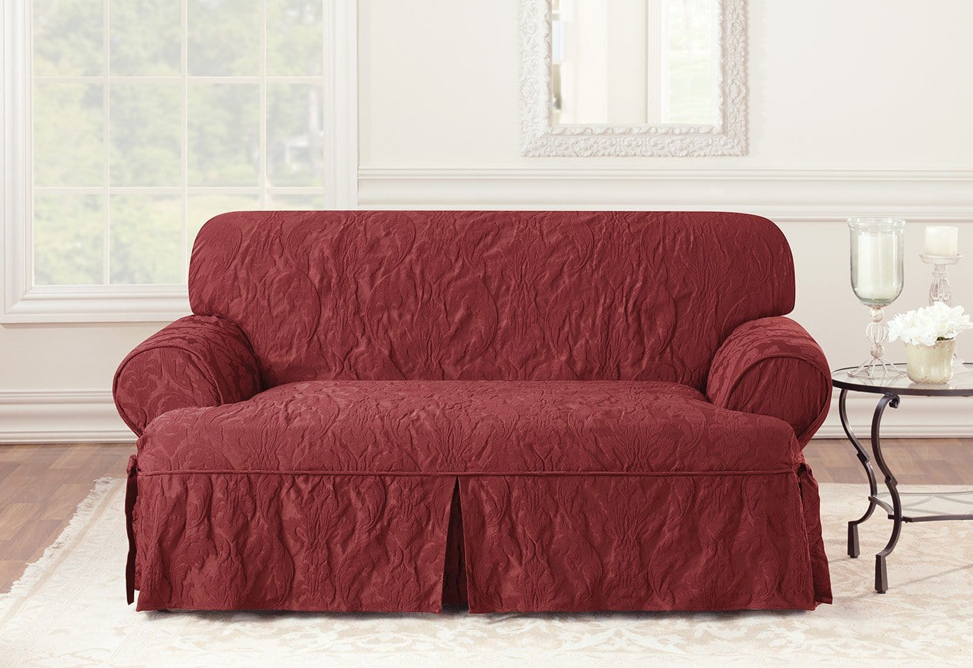 two tone matelasse damask one piece sofa slipcover savers as seen on tv loveseat  surefit