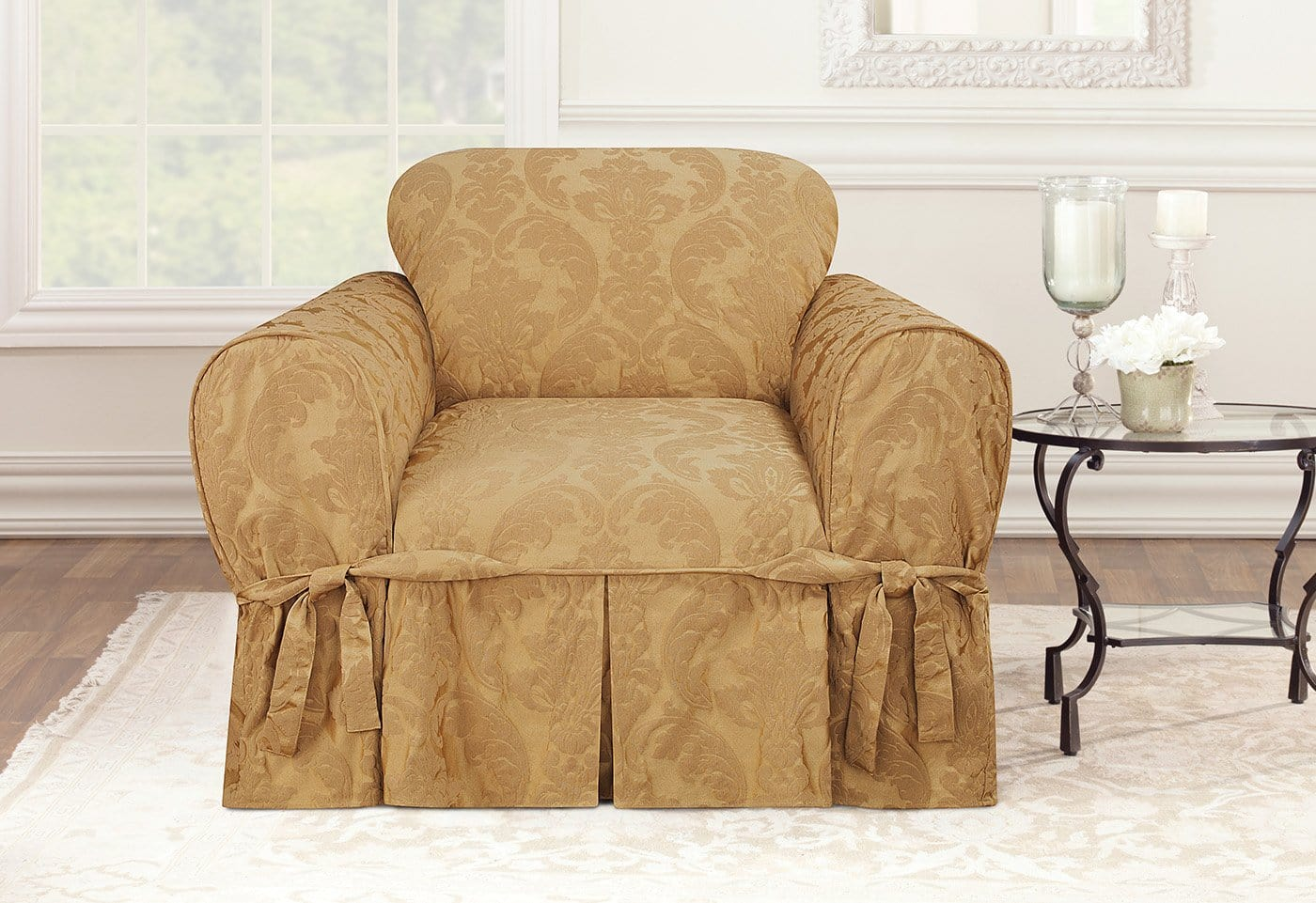 two tone matelasse damask one piece sofa slipcover cushion foam online chair surefit