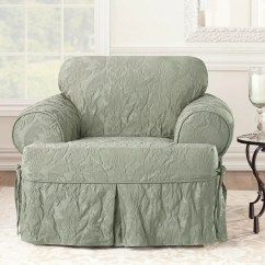 Two Tone Matelasse Damask One Piece Sofa Slipcover Cloud And Tradition Chair Surefit