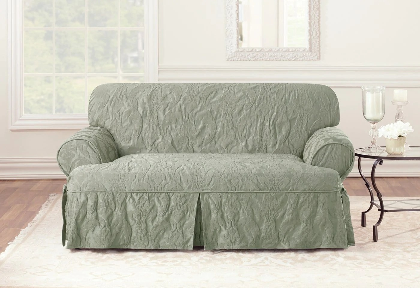two tone matelasse damask one piece sofa slipcover bed made in philippines loveseat  surefit