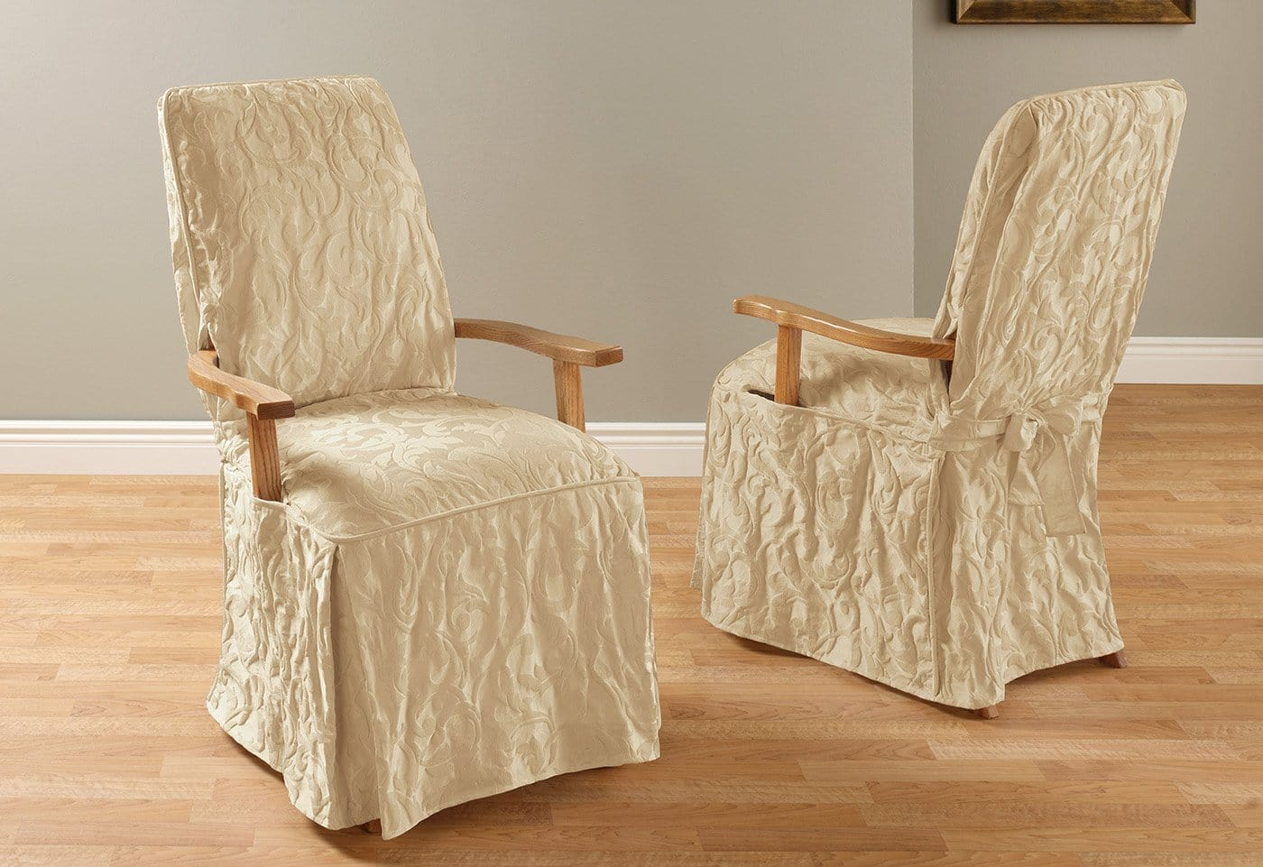 white dining chair covers canada massage lounge matelasse damask arm long slipcover  surefit