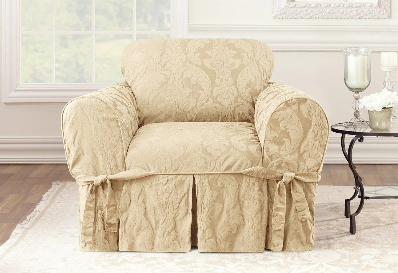 Damask Chair Matelasse Damask One Piece Chair Slipcover