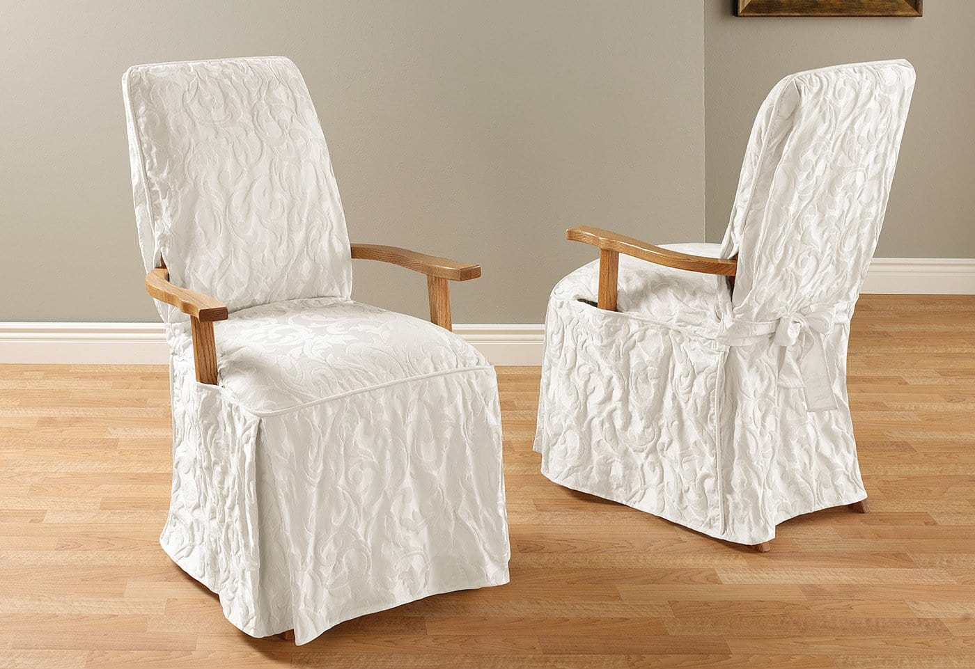 dining arm chair covers office seat warmer matelasse damask long slipcover surefit
