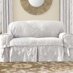 White Dining Chair Covers Canada Office Chairs Cheap Matelasse Damask One Piece Loveseat Slipcover  Surefit