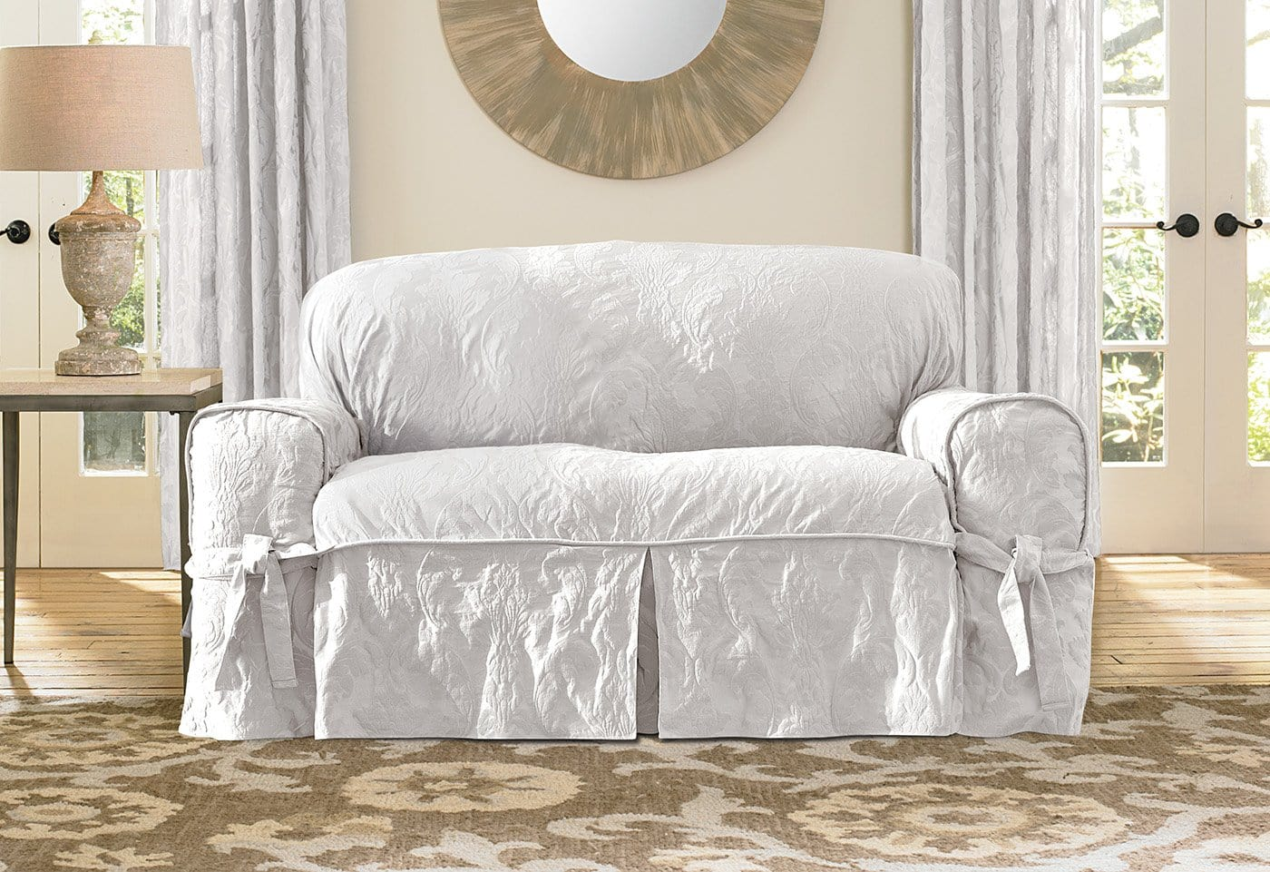 two tone matelasse damask one piece sofa slipcover cushion replacement singapore loveseat surefit