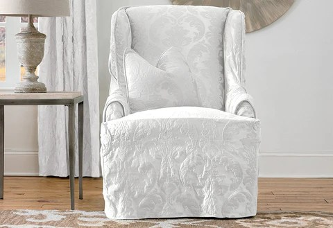 wingback chair cover wrought iron feet slipcovers furniture covers surefit matelasse damask one piece wing slipcover