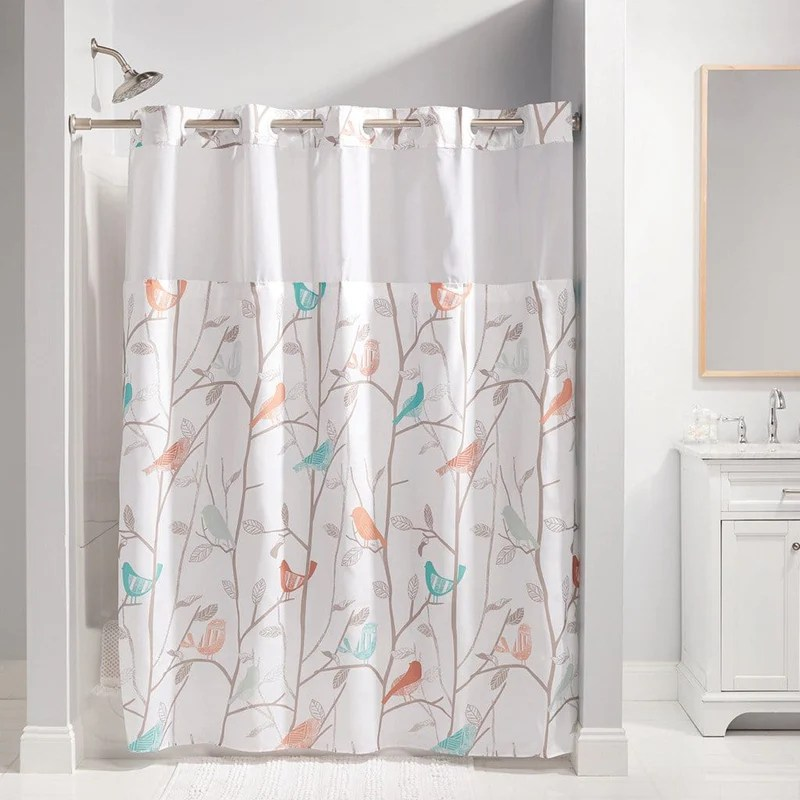 scandiary hookless shower curtain includes snap on off replaceable liner