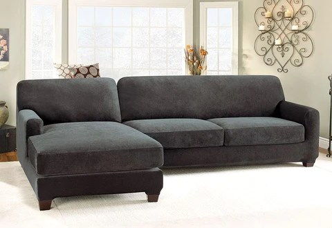 slipcovers for sectional sofa fabric covers uk chaise surefit stretch pique five piece slipcover left