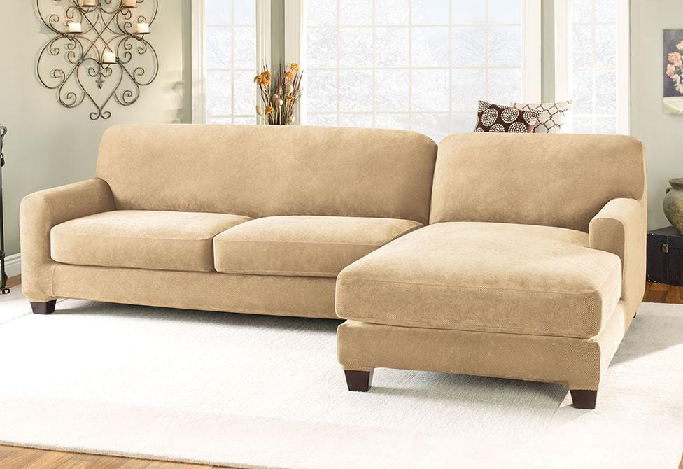 wing chair covers canada babies r us high stretch pique five piece sectional slipcover - right chaise – surefit
