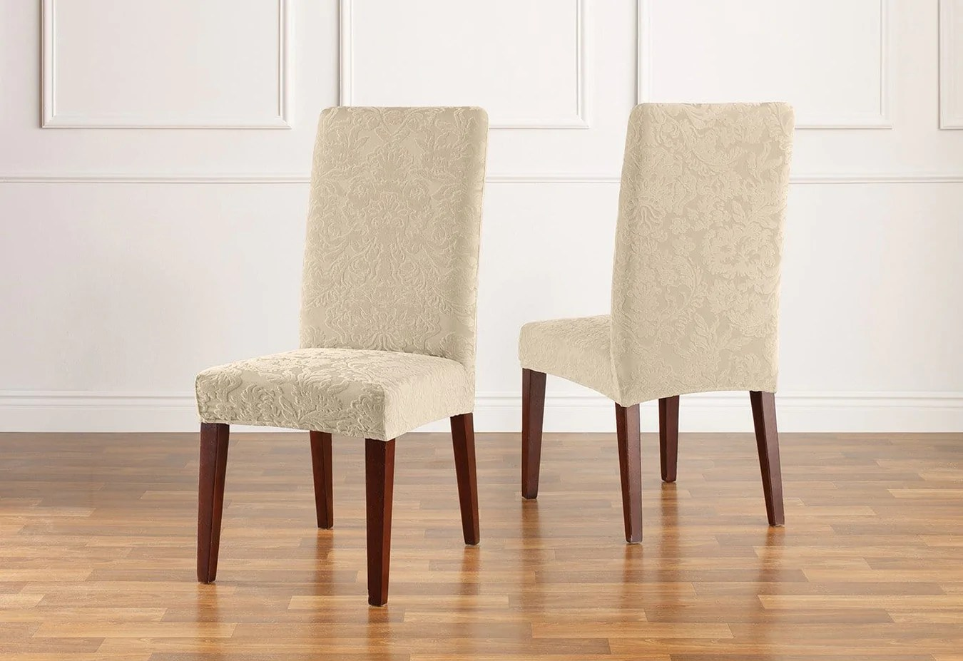 Damask Dining Chair Stretch Jacquard Damask Short Dining Chair Slipcover Surefit