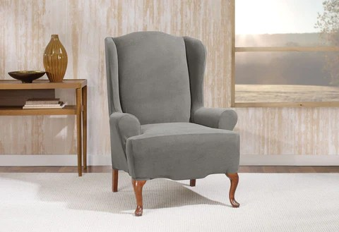 loose covers for queen anne chairs little girl rocking chair wingback slipcovers furniture surefit stretch morgan wing slipcover