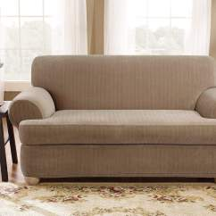 Durham One Piece Sofa Slipcover Set Designs For Small Living Room With Price Stretch Pinstripe Two Surefit