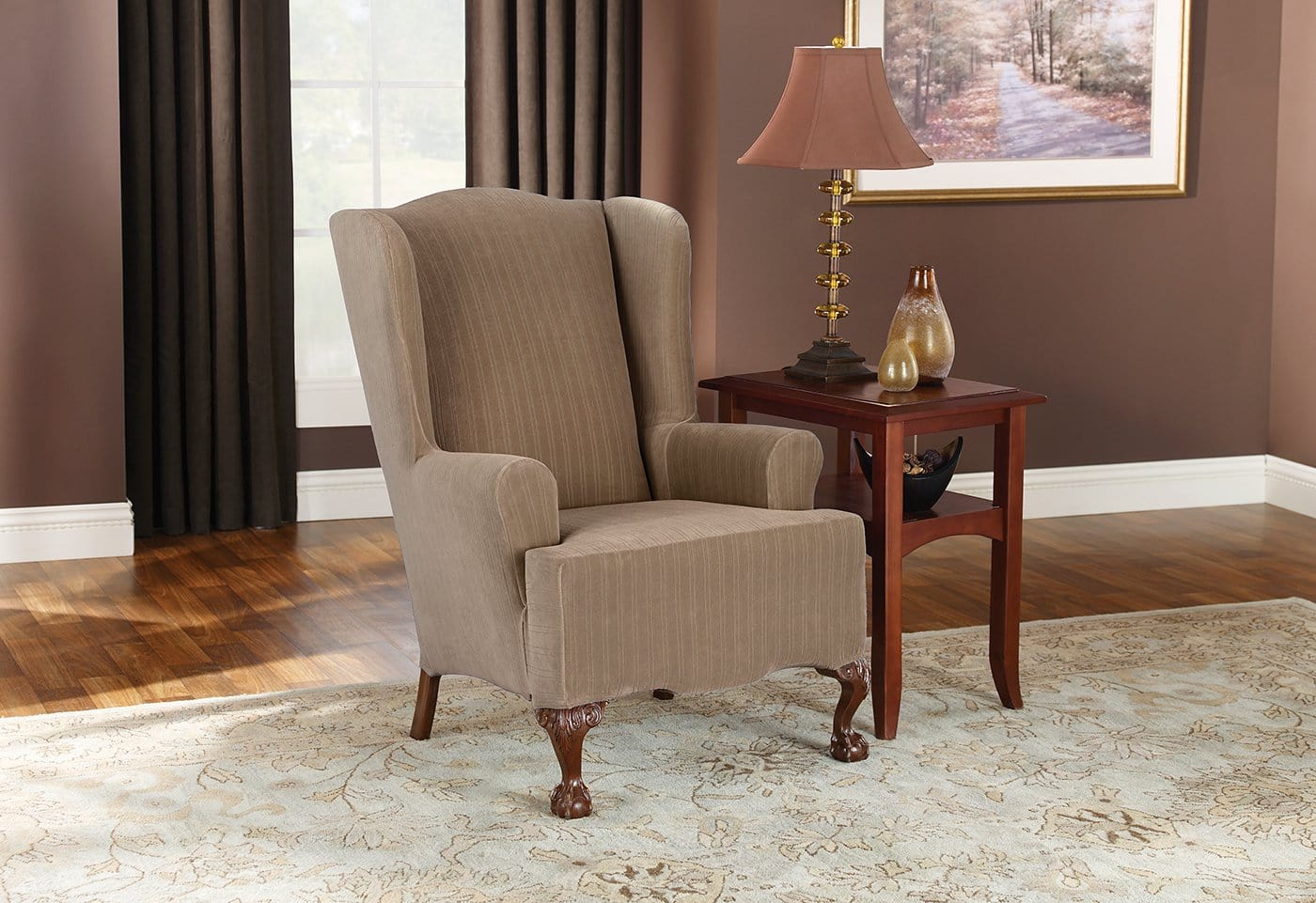 stretch dining chair covers canada bedroom wood pinstripe one piece wing slipcover  surefit