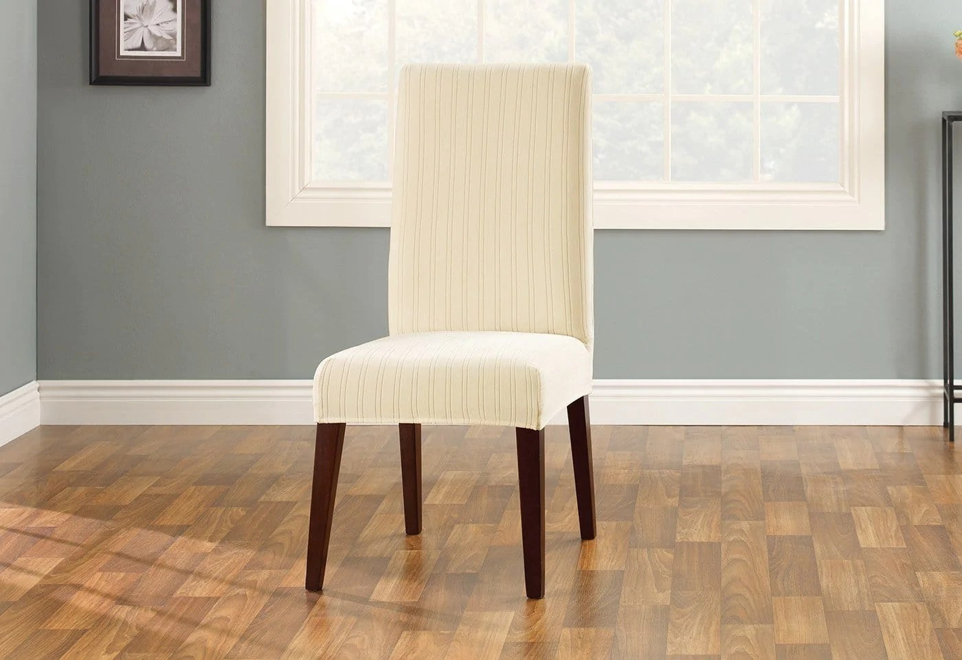 dining chair slipcover thomas the train table and chairs stretch pinstripe short surefit
