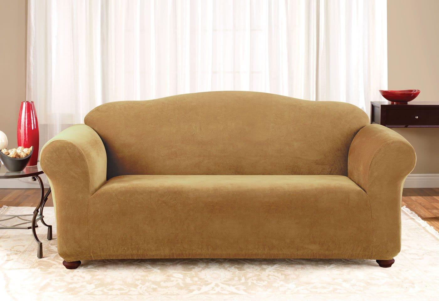 durham one piece sofa slipcover specialists stretch pique surefit